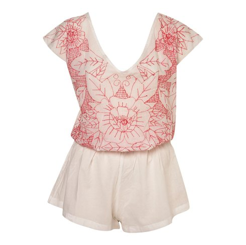 Tie Back Embroidered Playsuit, £25