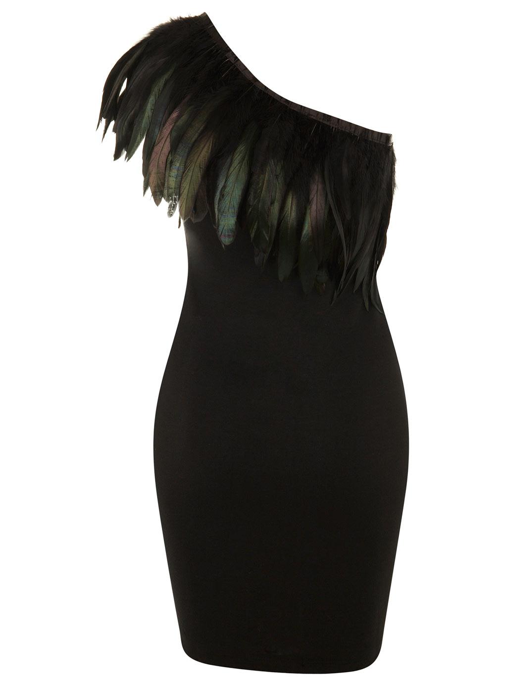 Feather 1 shoulder dress @ miss selfridge exclusive 50 00