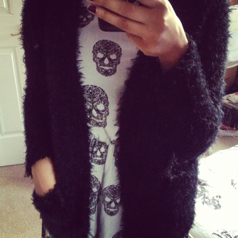 Furry Primark Cardi (£12.00) worn over H&M dress from SS13