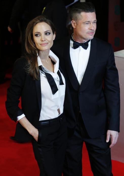 Brad Pitt and Angelina Jolie at the BAFTA Awards 2014