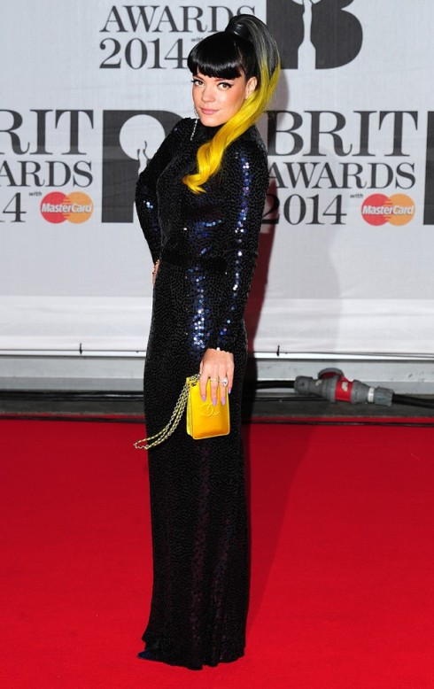 Lily Allen red carpet BRIT Awards 2014