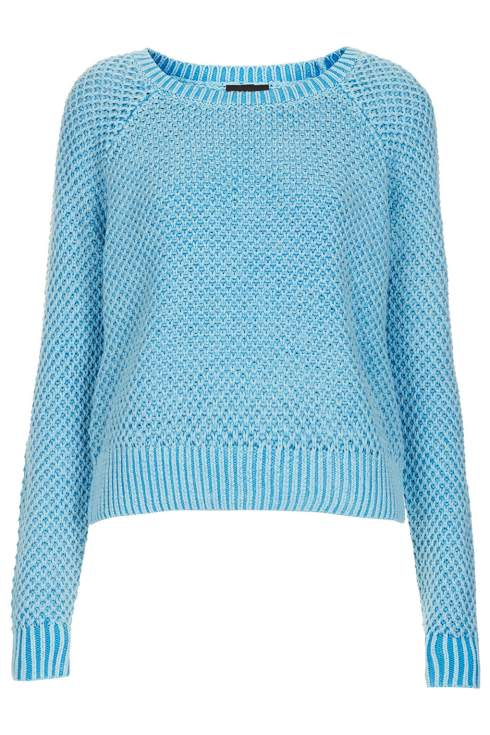 Knitwear, Acid wash jumper, Topshop, blue