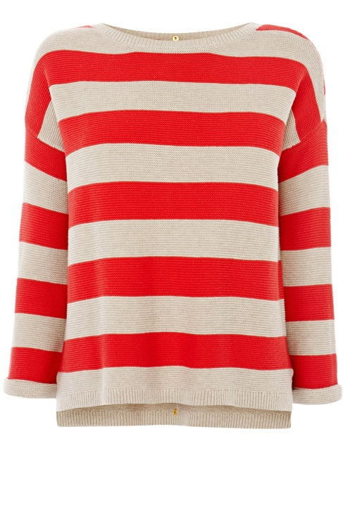 Popper back tuck stitch stripe jumper, red jumper, Warehouse