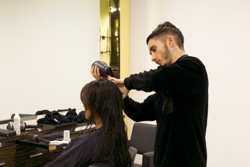 My stylist Danyl, working his magic with the Mend My Hair range