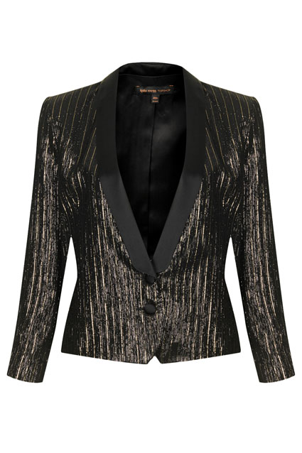 Lame tuxedo suit jacket, Kate Moss for Topshop