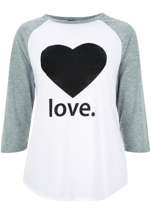 LOVE Raglan T-shirt , £18, Topshop, Fashion Targets Breast Cancer