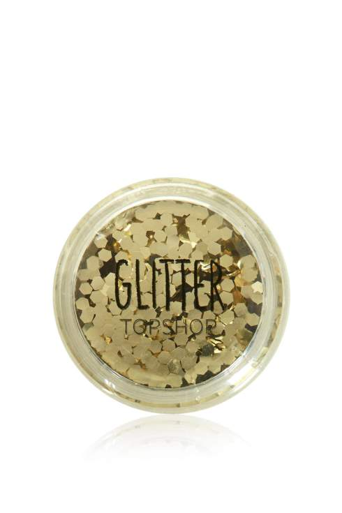 Gold glitter for eyes, glitter pots, make-up, Topshop