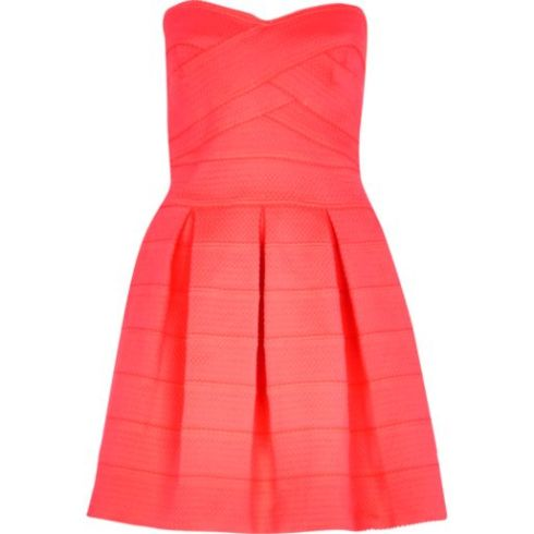 River Island strapless pink bandage prom dress
