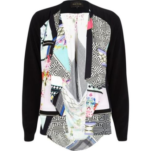 Black Abstract Print Waterfall Biker Jacket, River Island