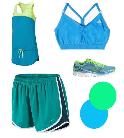 Blue, running clothes, Adidas, Saucony, Sweaty Betty, Nike