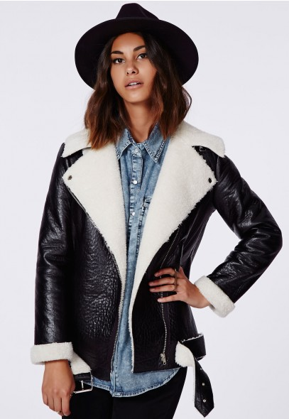 Coco Faux Leather Shearling Jacket @ Missguided £49.99
