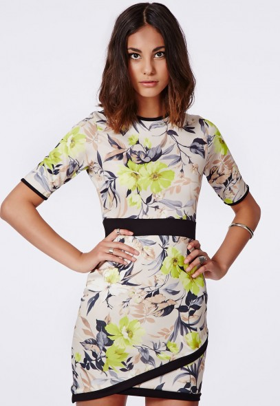 Ailish Floral Asymmetric Dress Multi @ Missguided £24.99