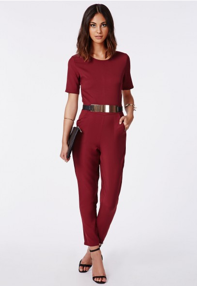 Alexa Belted Cap Sleeved Jumpsuit in Wine @ Missguided £24.99