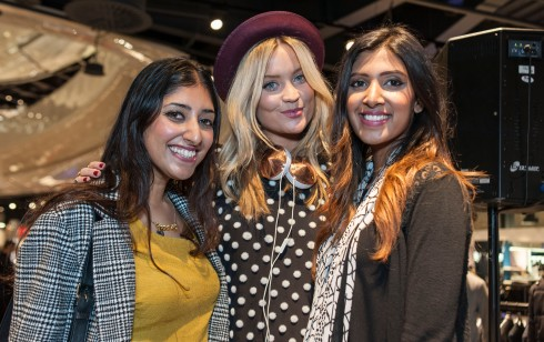 Sunny & Priya with Laura Whitmore (Photo credit: Dale Martin)