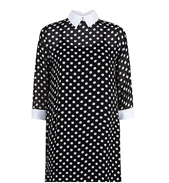 Blue Vanilla Black Polka Dot Contrast Collar Dress @ New Look £26.00