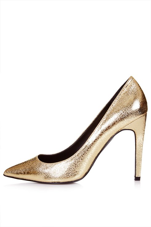 Gold GEMINI Metallic Court Shoes, Topshop